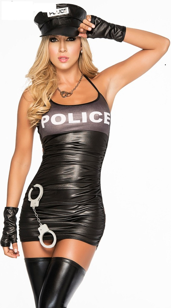 Woman's Black Sexy Gilding Cop Dress Costumes Halloween Game Stage Bar Police Costume Cosplay