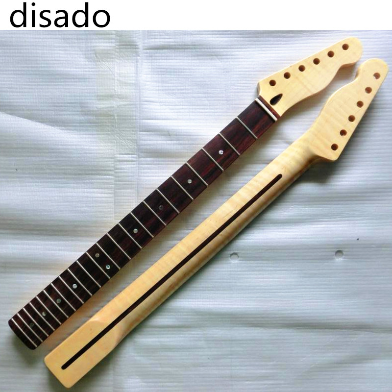 disado 22 Frets Tiger flame material maple Rosewood fingerboard Electric Guitar Neck wood color Guitar Parts accessories disado 24 frets inlay dots maple electric guitar neck maple fingerboard wood color black headstock guitar accessories parts