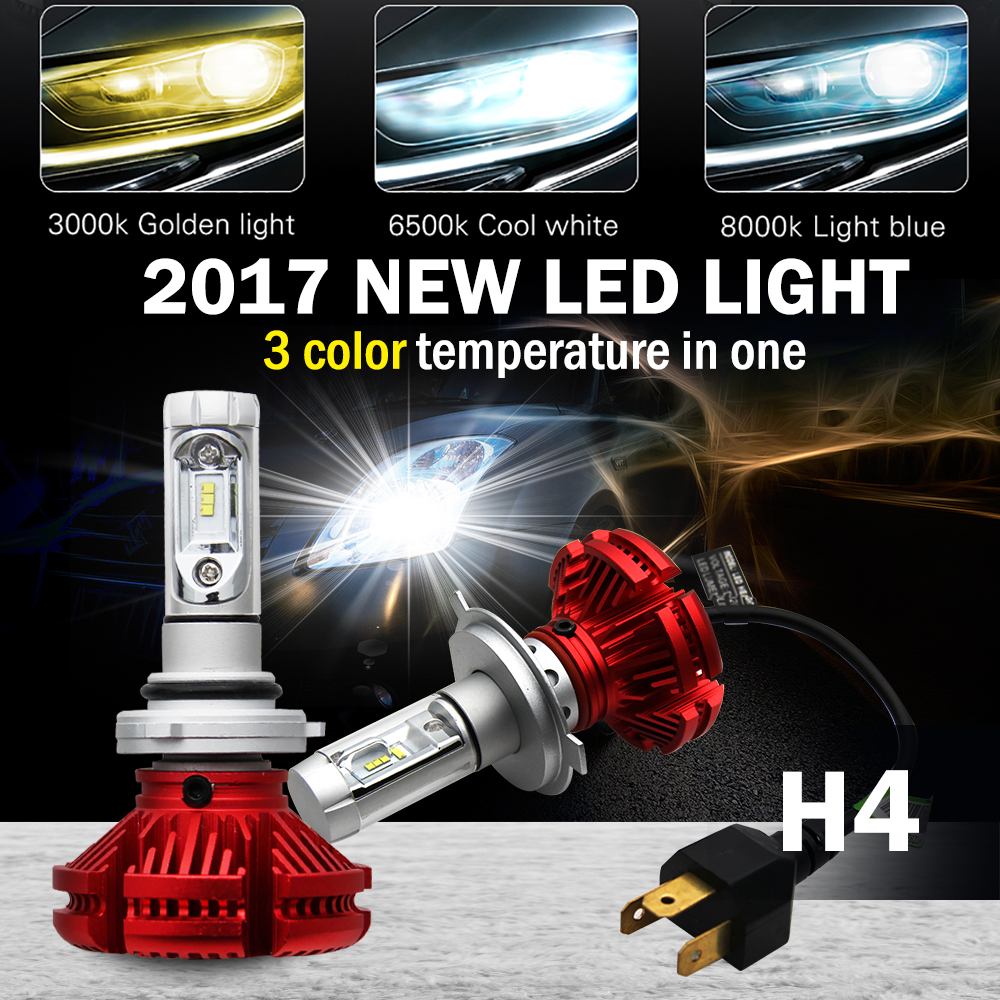 CO LIGHT Led Headlights H4/9003/Hb2 CSP Chip 50W Hi Lo 6500K 3000K 8000K Diy Lamp H4 No Fan Waterproof All In One Car Styling h4 7 led headlights with led car canbus led chip 80w 8000lm 6000k hi lo led driving light for off road uaz lada