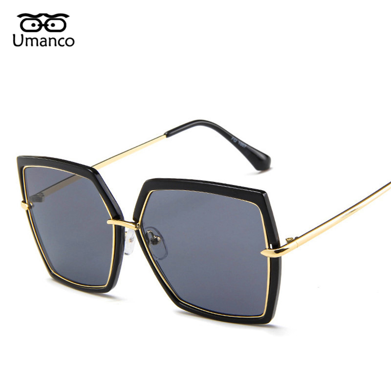 ab6dbfb7f7 Umanco Retro Black Big Frame Square Sunglasses Women Men Vintage Fashion  Metal Sun Glasses Large Shades Mirror Female Eyewears-in Sunglasses from  Women s ...