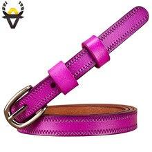 Cinturones estrechos de cuero genuino para mujer, cinturón con hebilla de Pin a la moda, cinturón para mujer para Vaqueros, faja de piel de vaca para vestidos de 2,3 cm de ancho