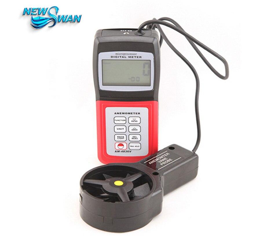 AM4836V портативный цифровой анемометр Объём воздуха Ветер Скорость метр Температура измерения с Флюгером Сенсор Подсветка
