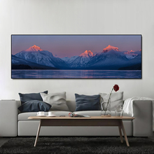 Snow Mountain Sunset Clouds Lake Landscape Nodic Modern picture Poster and Print print on canvas for Bedroom Home Decor No Frame