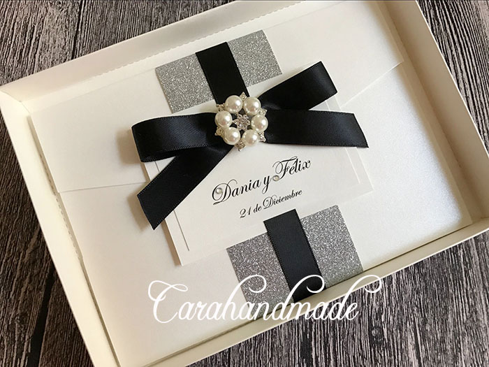 Boxed Glitter Wedding Invitation with Satin Ribbon and Pearl Silver Rhinestone CA0656-in Cards & Invitations from Home & Garden    1