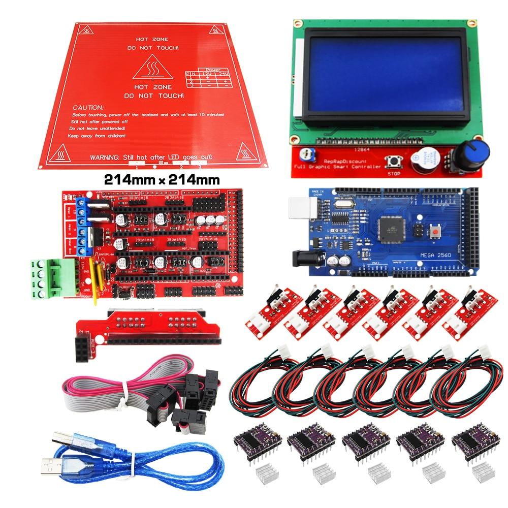 HAILANGNIAO Reprap Rampes 1.4 Kit Avec Mega 2560 r3 + Heatbed mk2b + 12864 LCD Contrôleur + DRV8825 + interrupteur Mécanique + câbles