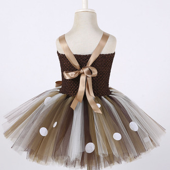 Deer Tutu Dress Happy Purim Baby Girls 1st Birthday Party Dresses Carnival Halloween Winter Cosplay Costume Clothes For Kids 4