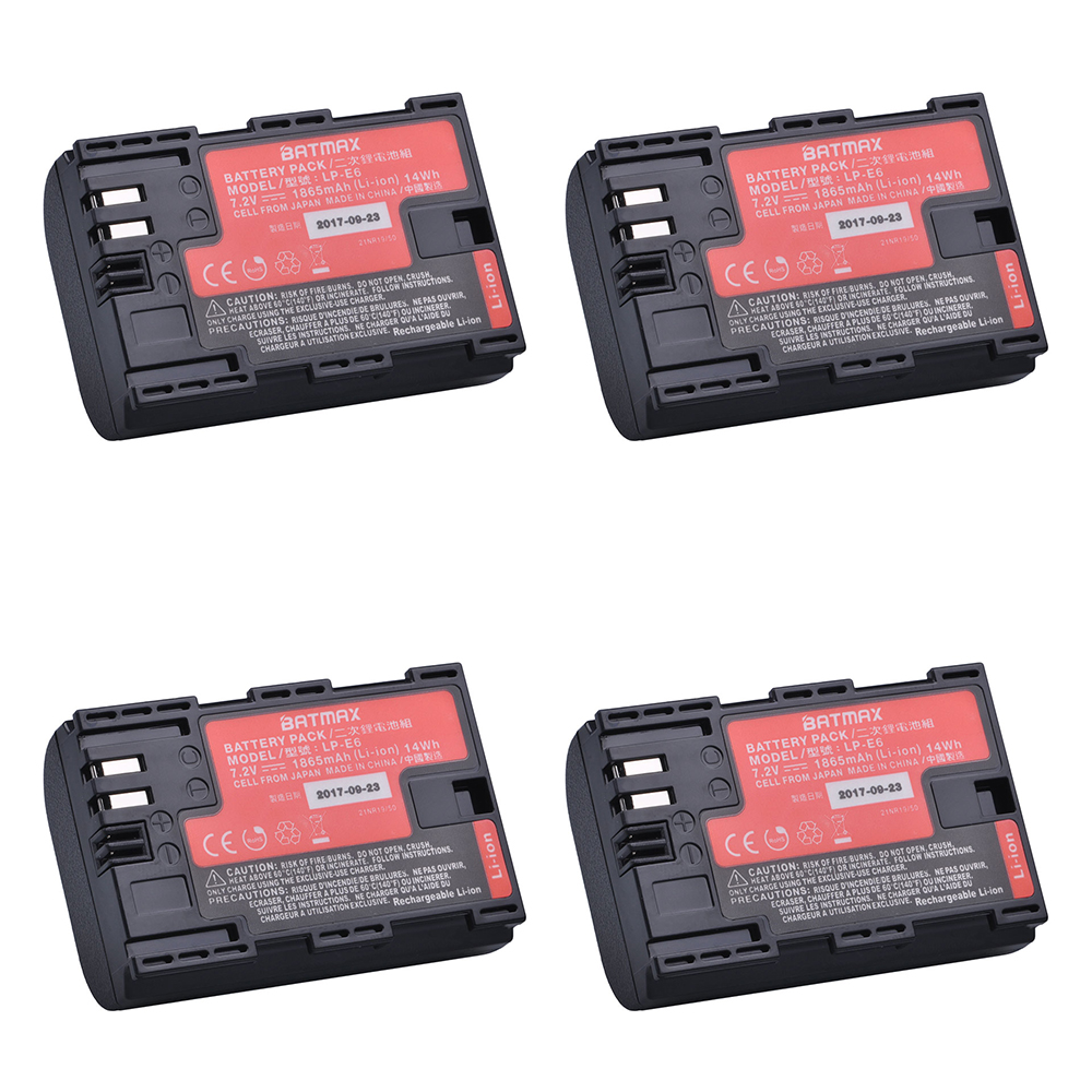 4Pcs LP-E6 LPE6 LP E6N Camera Battery Japan Sanyo Cell Bateria for Canon DSLR EOS 5D Mark II Mark III 60D 60Da 7D 70D 6D Camera