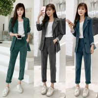 Set female autumn Women Corduroy Blazer suit jacket +Corduroy pants suits Straight Trousers two piece set women