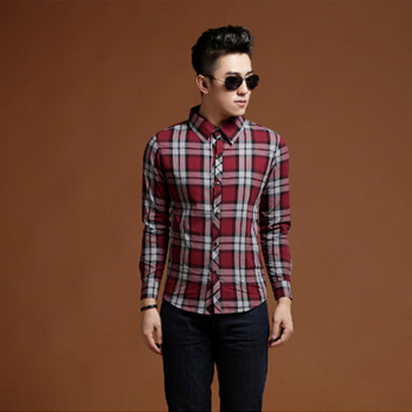 Free shipping 2015 korea style mens slim red plaid shirt for Red black and white flannel shirt