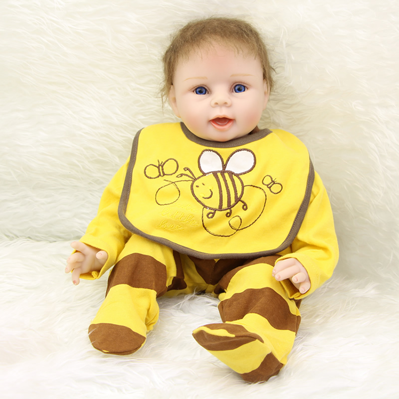 NPK Collection Silicone Vinyl Baby Dolls Boy 22 Inch Realistic Reborn Kids Wearing Yellow Bee Clothes Kids Birthday Xmas Gift