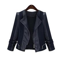 ZYFPGS 2019 Female Stitched leather jacket Women Black slim coat Fashion classic Hot business blouse Large size 5XL