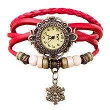 CLAUDIA 2017 Top Ladies Long Leather Strap Snowflake Bracelet Watch Vintage Punk Style Casual Quartz Watch