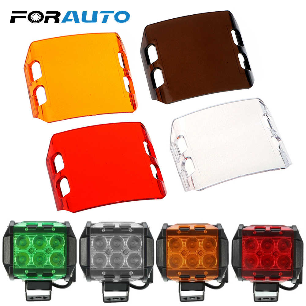FORAUTO  Spot Fog Flood Work LED Light Cover For Off-road SUV ATV Boat Bar Len 4 Inch 18W