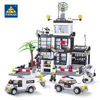 KAZI 6725 3D Construction Educational Bricks 6725 Building Block Sets Police Stations Enlighten Toys For Children