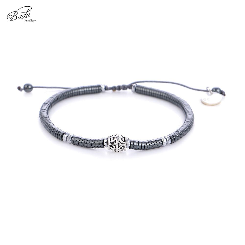 Badu Adjustable Bracelet Unisex Black Mineral Stone Silver Alloy Punk Bracelets for Women Fashion Jewelry Wholesale