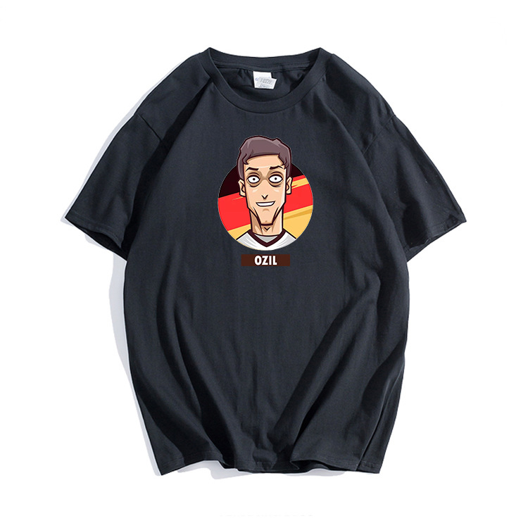 online retailer f9734 8a569 US $15.74 25% OFF|CIVI CHIC Foot Ball Cup T Shirt Man Cotton Germany Jersey  Women Cartoon Mesut Ozil Print Tops 2018 Deutsche Ball Camiseta MST15-in ...