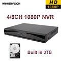 Nova! 4 canais 8 canais Full HD HDMI 1080 P 4CH / 8CH NVR DVR Onvif 2.0 com 3 TB HDD para câmera de segurança IP p2p, Cctv DVR Recorder