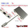 New USB 3.1 Type C to VGA &Female USB3.0 & 2 port USB 2.0 HUB & Charger for Pixel or Apple Macbook Multiport Adapter 4K