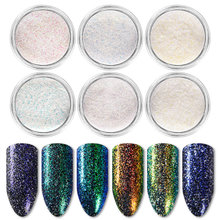 T-TIAO CLUB 6Boxes/set Holographic Glitter Powder Shining Sugar Nail Podwer Dust for Art Decorations