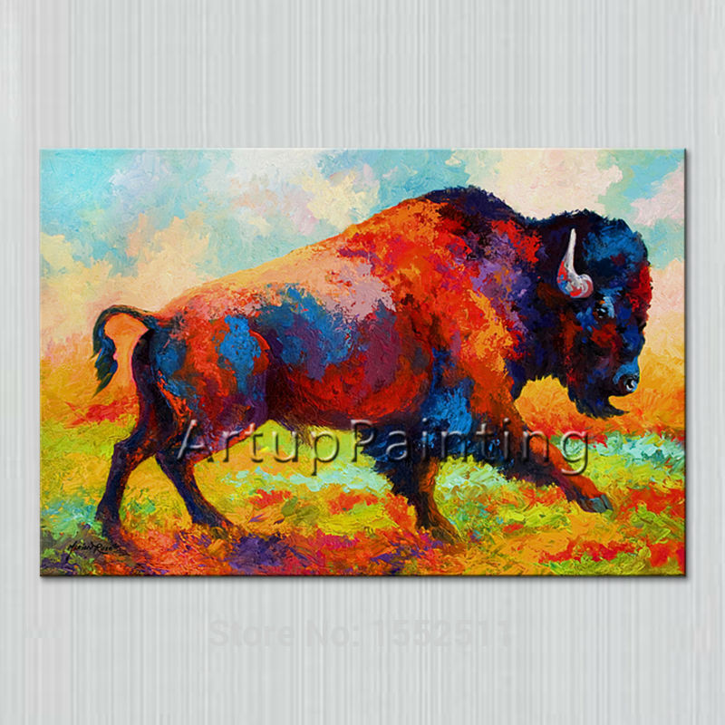 Modern Abstract Bull Oil Paintings Canvas Pop Art Animals Wall