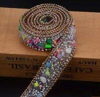 2.5 cm cukierki kolor wykończenia Kryształu Dżetów Wedding Bridal Aplikacja Strassu Łańcucha Siatki Krystalicznej łaty dla Odzież Home Decor