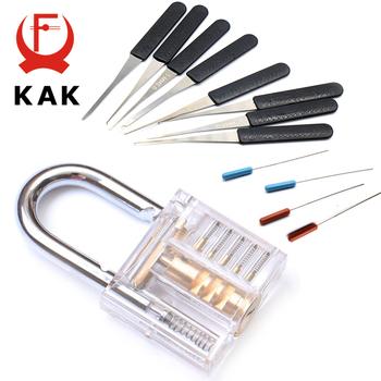 KAK Mini przezroczysty widoczny Pick Cutaway praktyka blokada kłódki z uszkodzonym kluczem usuwanie haczyków blokada zestaw wytrychów narzędzie ślusarskie tanie i dobre opinie KAK-LT3(S) Kłódki Keyed 5 x 3 x 1 3cm (L x W x H) Metalworking Blue Transparent Acrylic and Alloy Flat Key 12pcs Transparent Visible Practice Padlock Locksmith Tool