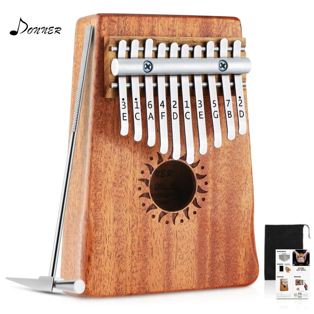 Donner DKL 10 10 Key Kalimba Thumb Piano Solid Mahogany Body