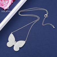 SISCATHY Trendy statement necklace Silver Butterfly Shape Pendant Long Chains Necklace For Women Girls Fashion Jewelry