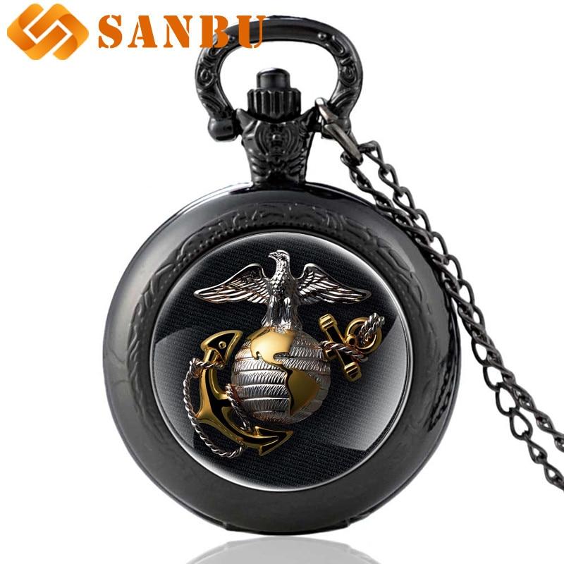 New Fashion United States Marine Corps-USMC Quartz Pocket Watch Vintage Men Classic Necklace Jewelry