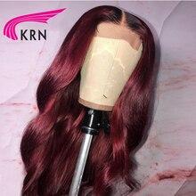 KRN 1b/99j волнистые 13x6 синтетические волосы на кружеве парики предварительно выщипанные кружевные передние красные бордовые модные Remy бразильские парики для женщин