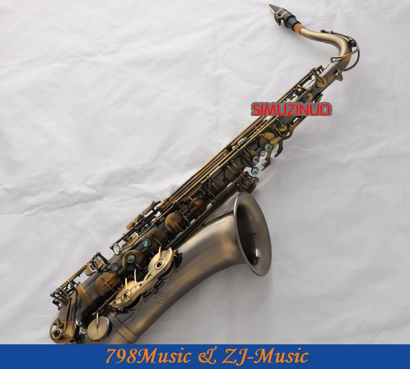 цена  Professional New Antique Bb Tenor Saxophone sax High F# Ablone Keys With Case  онлайн в 2017 году
