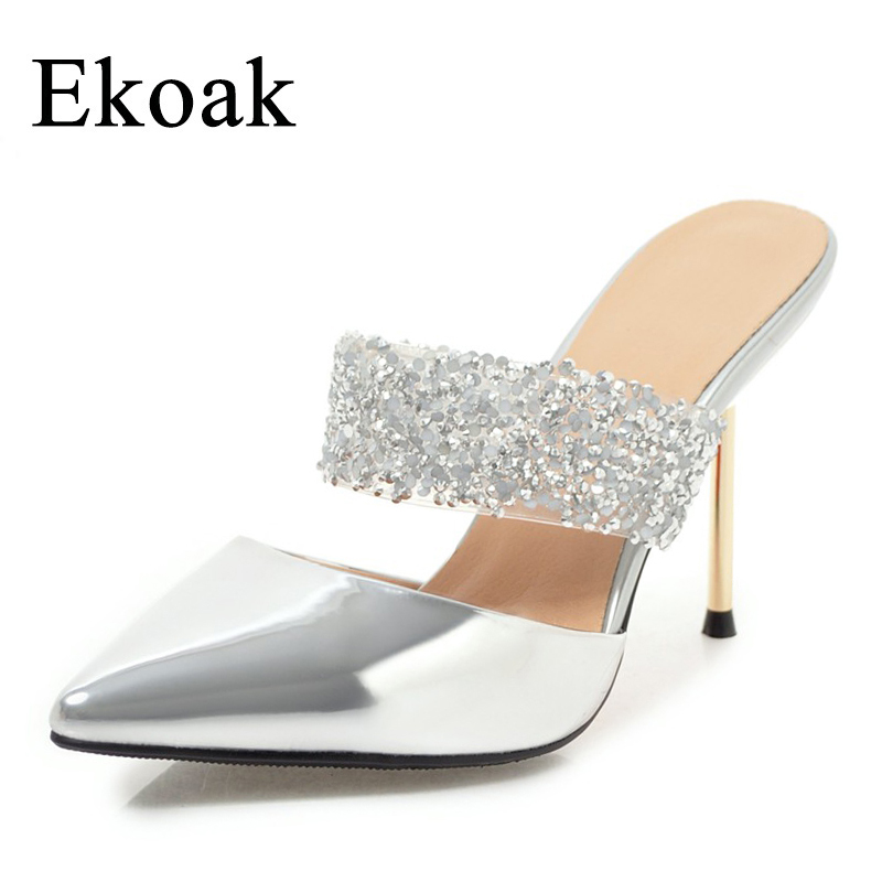 Ekoak New 2018 Women Shoes Summer Sexy Party Shoes Fashion Bling Women Sandals Ladies High Heels Slip-On Shoes Woman ekoak new 2018 summer shoes woman fashion crystal women sandals ladies wedges platform shoes woman party shoes gladiator sandals