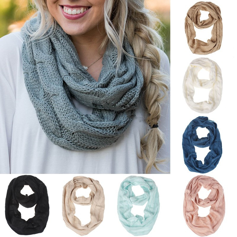 Infinity Wrap Cowl Knit Scarves Knitted Circle Wool Scarves For Girl Winter Warm Soft Ring Scarf Lady Solid Fashion Casual Scarf