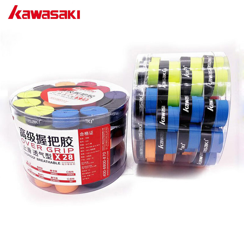 Kawasaki Brand 60Pcs/lot Anti slip Tennis Overgrips Tape Sweatband Badminton Grips Over Grip Racquet Accessories X28 Mix Color-in Sweatband from Sports & Entertainment    1