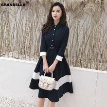 купить 2019 Spring Summer Women Business A Line Fit and Flare Swing Vintage Dress Elegant Polo Collar Dress Plus size DR001 дешево