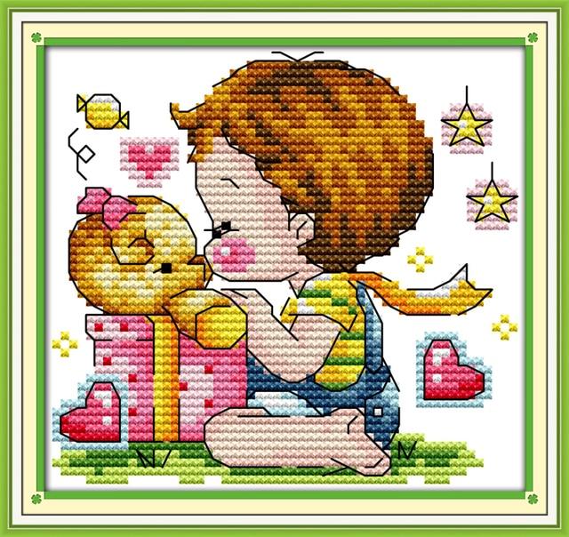 Joy Sunday Cartoon Style Kiss The Teddy Bear Free Counted Cross