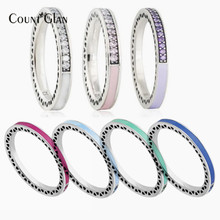 Compatible with European Brand Jewelry 2017 Spring 925 Sterling Silver Ring Water Drop Clear Austrian Crystal Rings For Women