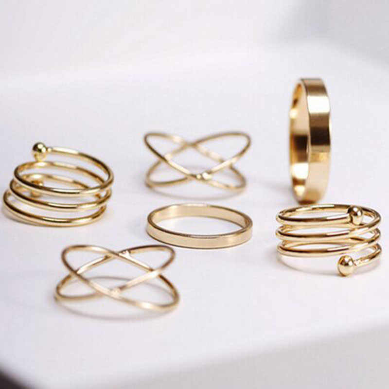 6pcs/set punk stackable Knuckle rings for women Finger Rings set Ring 8CRD99