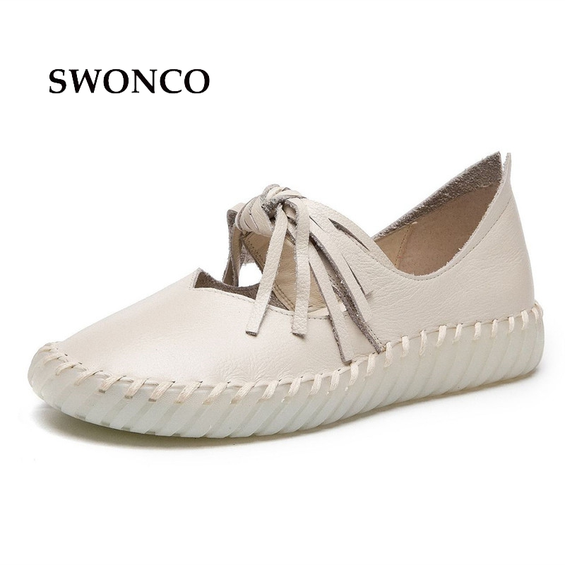 Mocassins 2018 En Main Dames Swonco black Cuir Plat La purple Chaussures Véritable Femmes Beige De Gland Vintage Appartements À 8ON0vnmw