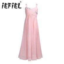 Iefiel女の子花サマードレス用ウェディングパーティーの女の子子供花ラインストーンプリーツシフォン初聖体の弓ドレス