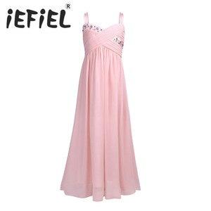 Image 1 - iEFiEL Girls Flower Summer Dress for Wedding Party Girls Children Floral Rhinestones Pleated Chiffon First Communion Bow Dress