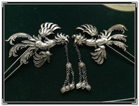 Pair Of Side Phoneix Miao Silver Pinach Hair Stick Hanfu Accessories Traditional Antique Pinach Artwork Palace