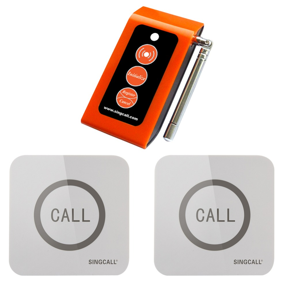 SINGCALL Wireless  emergency call system, Caregiver 2 Touchable Nurse Calling Buttons,1 Caregiver Pager 10pcs 433mhz restaurant pager call transmitter button call pager wireless calling system restaurant equipment f3291