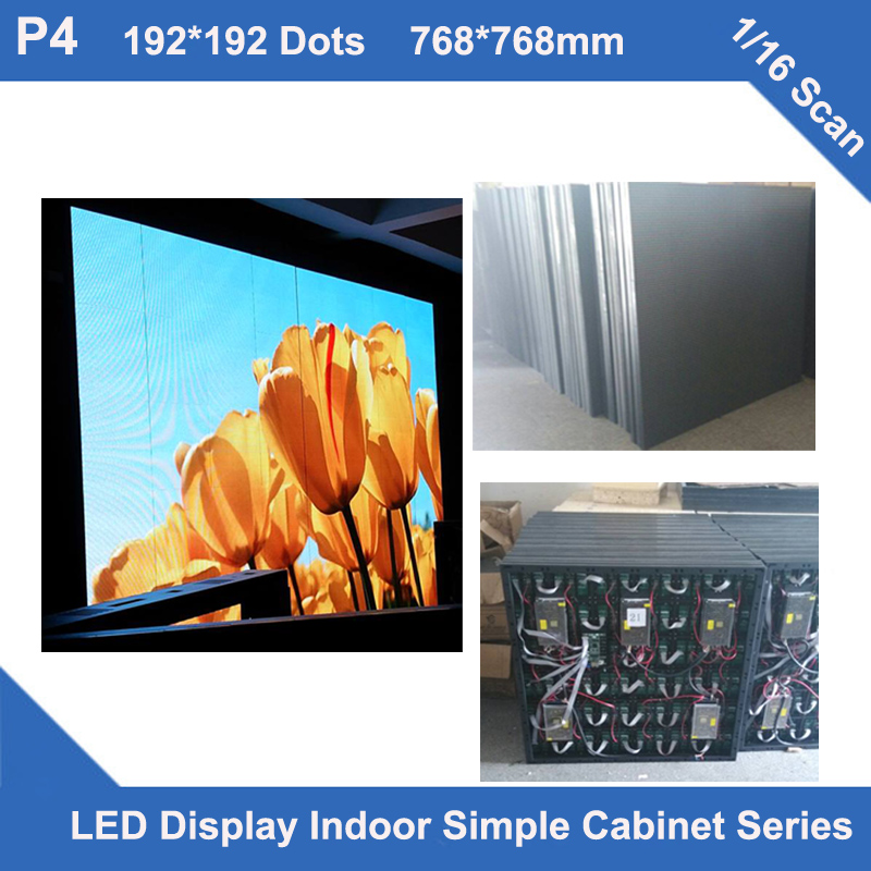TEEHO P4 Indoor LED Display Cabinet 768mm*768mm 1/16 Scan Simple Iron Cabinet Fixed Installation Led Advertising Display Screen