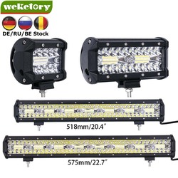 weketory 4 7 20 23 inch 3 Rows LED Bar LED Work Bar Light for Tractor Boat OffRoad 4WD 4x4 Truck SUV ATV Driving Motorcycle 12V