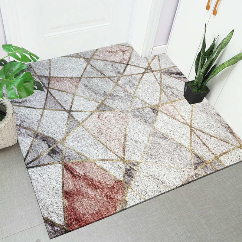 Simple Nordic imitation marble PVC wire ring soft home floor mat Door mat cutting DIY Entrance