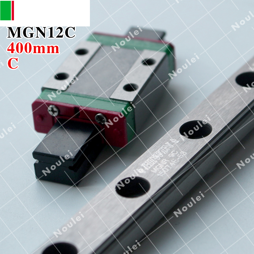 HIWIN MGN12C slide block with 400mm MGN12 Linear Guide Rail for 12mm Miniature CNC kit axk mr12 miniature linear guide mgn12 long 400mm with a mgn12h length block for cnc parts free shipping