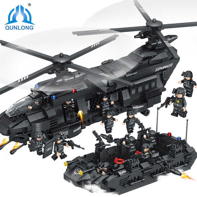Qunlong 1351Pcs CH-47 Chinook Helicopter Special Police Force Kids Dream Compatible With Block Minecrafted For Children Gifts