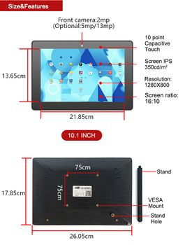 10.1 inch LCD Display Touch Screen MinI PC Intel Z8350 Quad Core Windows10 Industrial All in One PC