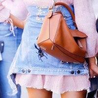 N для женщин сумка бренд панелями дизайн из натуральной коровьей кожи мягкие Геометрическая Сумочка для сумки на плечо с длинным ремнем Sac